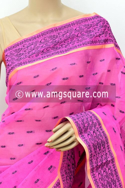 Pink Handwoven Bengal Tant Cotton Saree (Without Blouse) Allover Booti, Resham Border 17178