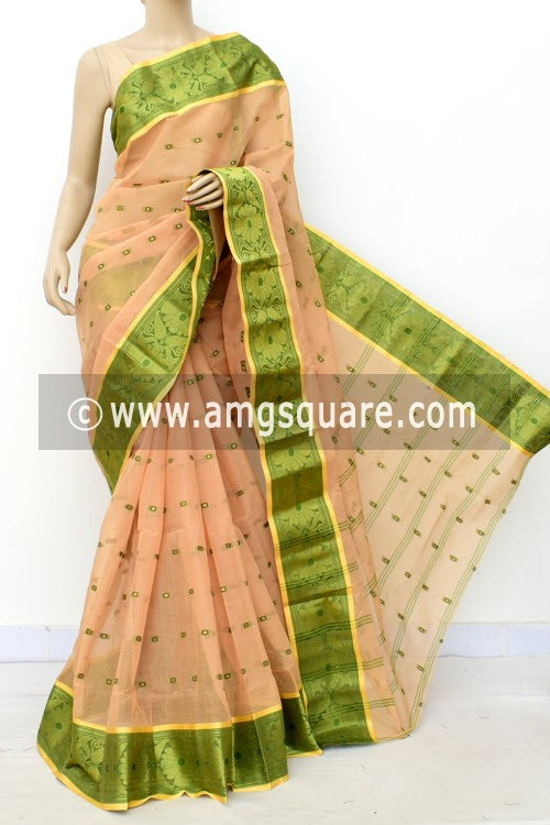 Fawn Handwoven Bengal Tant Cotton Saree (Without Blouse) Allover Booti, Zari Border 17180