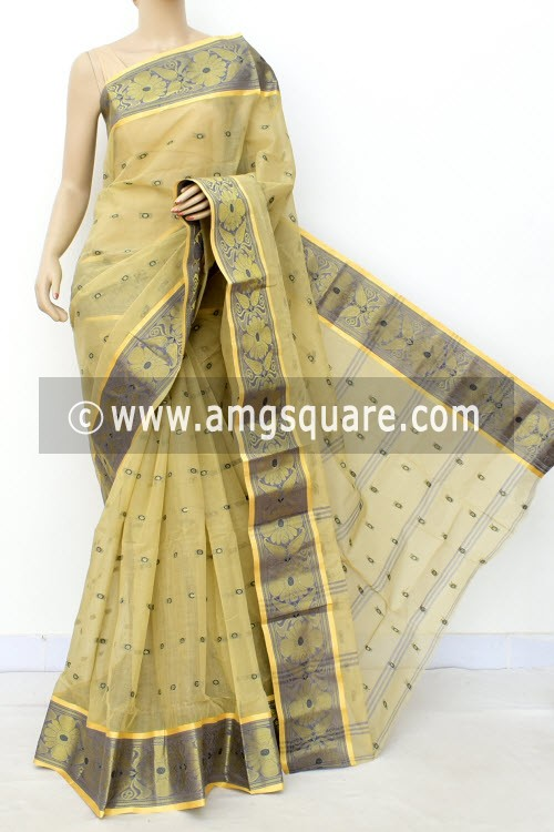 Light Fawn Handwoven Bengal Tant Cotton Saree (Without Blouse) Allover Booti, Zari Border 17182