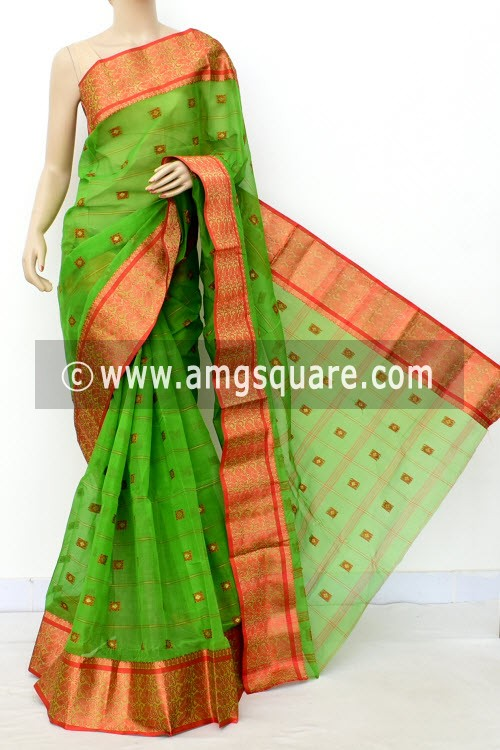 Green Red Handwoven Bengal Tant Cotton Saree (Without Blouse) Allover Booti Resham Border 17183