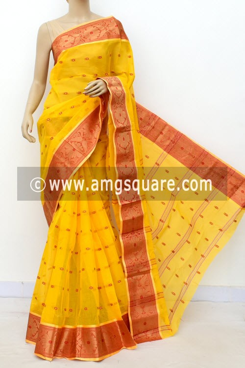 Golden Yellow Handwoven Bengal Tant Cotton Saree (Without Blouse) Allover Booti, Zari Border 17184