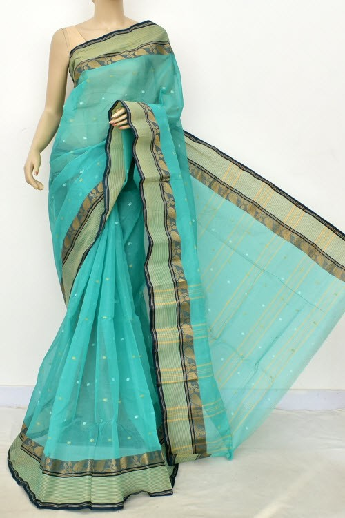 Sea Green Navy Blue Handwoven Bengali Tant Cotton Saree (Without Blouse) Allover Booti 17191