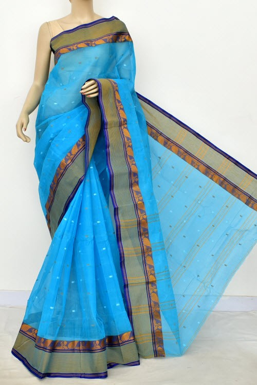 Pherozi Blue Handwoven Bengali Tant Cotton Saree (Without Blouse) Allover Booti 17193