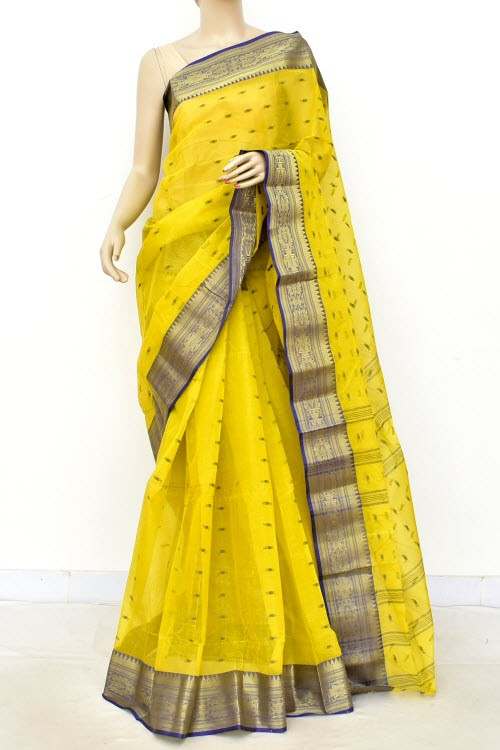 Greenish Yellow Handwoven Bengali Tant Cotton Saree (Without Blouse) Allover Booti 17206