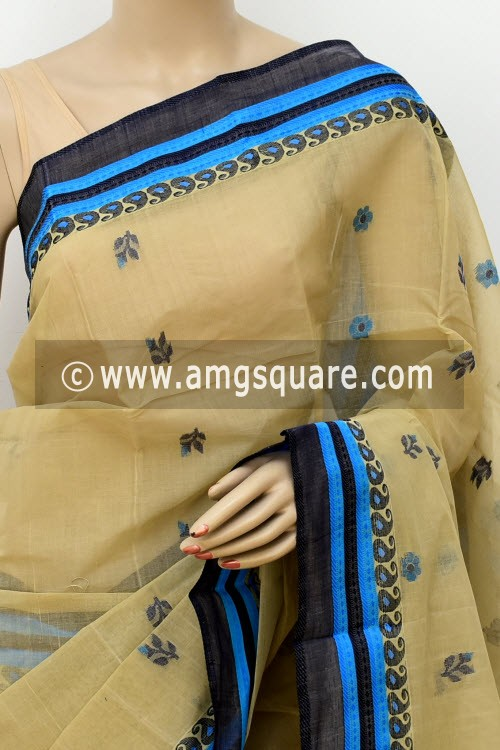 Beige Exclusive Handwoven Bengal Tant Cotton Saree (Without Blouse) 17239