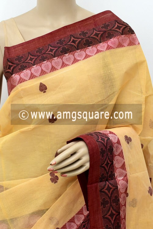 Beige Handwoven Bengal Tant Cotton Saree (Without Blouse) Resham Border 17247