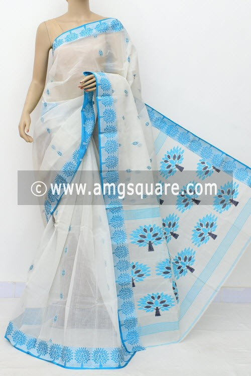 White Pherozi Handwoven Bengal Tant Cotton Saree (Without Blouse) Resham Border 17248