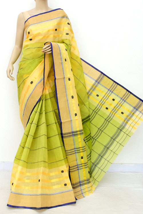Green Yellow Handloom Bengal Tant Cotton Saree (Without Blouse) Half-Half 17254