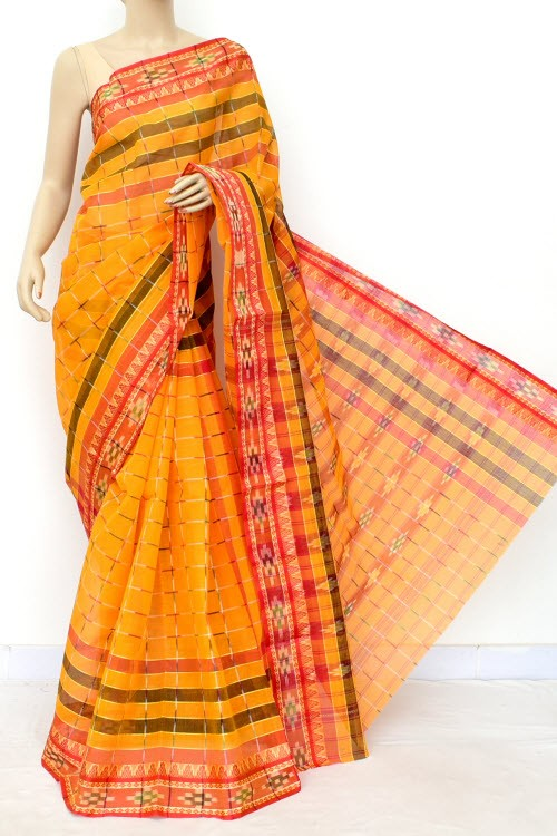 Turnmeric Yellow Red Handloom Bengal Tant Cotton Saree (Without Blouse) Kotki Border 17255