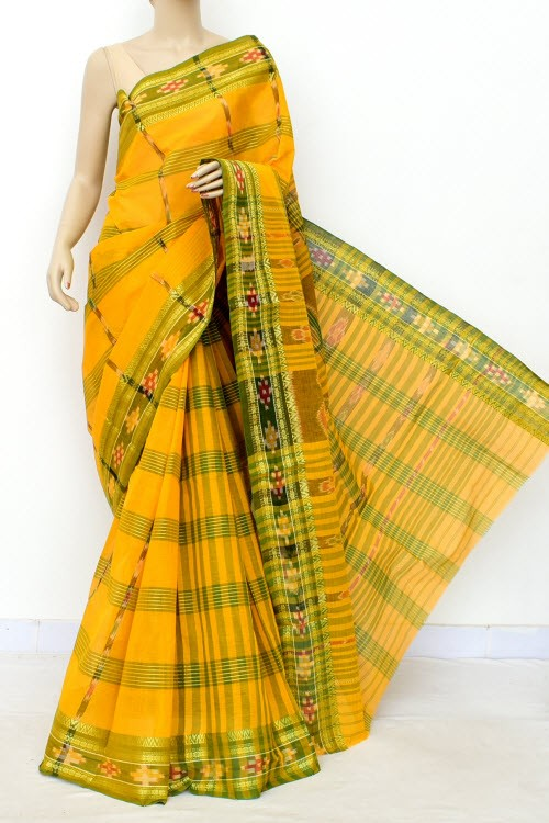 Yellow Handloom Bengal Tant Cotton Saree (Without Blouse) Kotki Border 17259