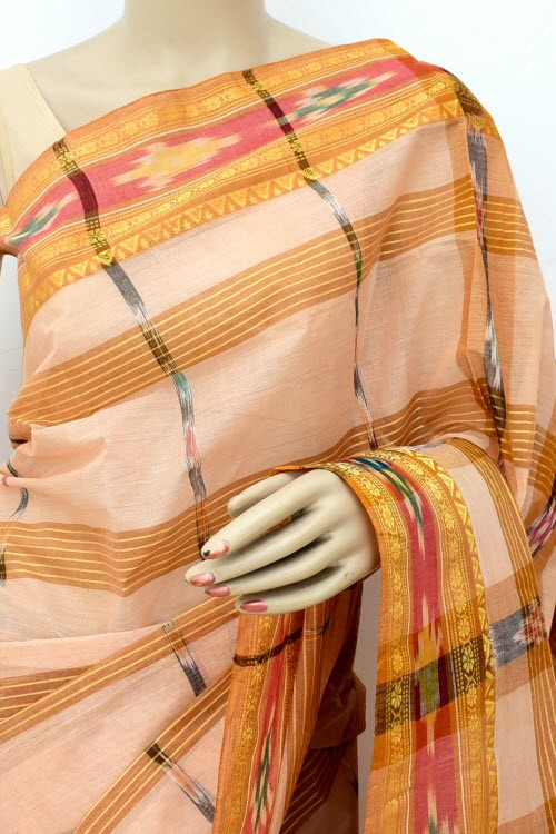 Fawn Handloom Bengal Tant Cotton Saree (Without Blouse) Kotki Border 17260