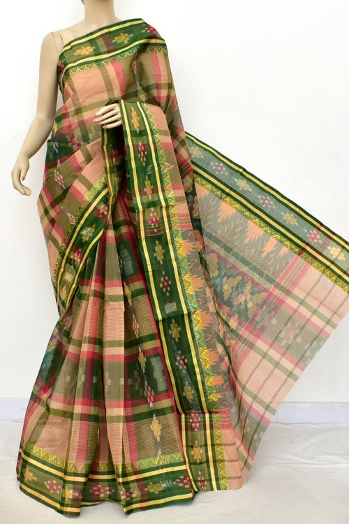 Menhdi Green Fawn Handloom Bengal Tant Cotton Saree (Without Blouse) Kotki Border 17262