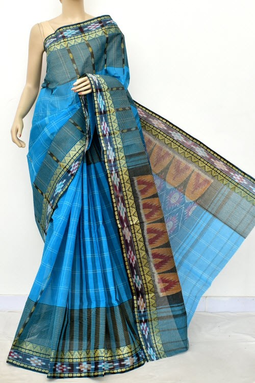 Pherozi Blue Handloom Bengal Tant Cotton Saree (Without Blouse) Kotki Border 17263