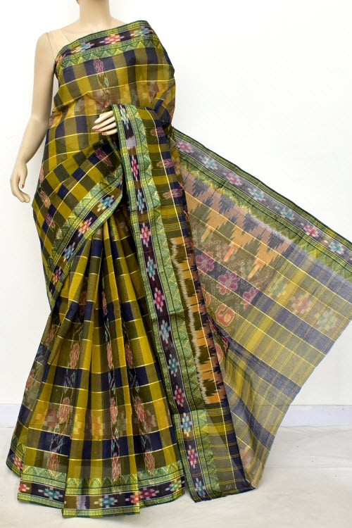 Menhdi Green Blue Handloom Bengal Tant Cotton Saree (Without Blouse) Kotki Border 17264