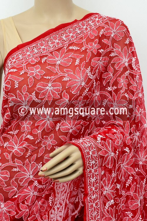 Red Designer Hand Embroidered Lucknowi Chikankari Saree (With Blouse - Georgette) Half Jaal 17295