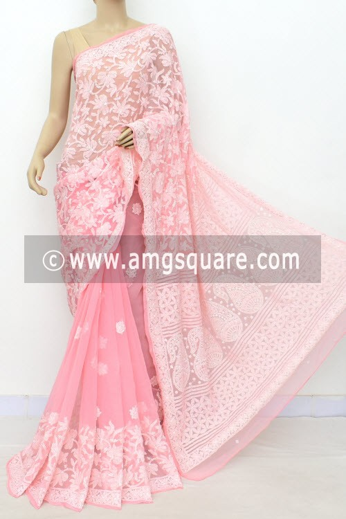 Peach Designer Hand Embroidered Lucknowi Chikankari Saree (With Blouse - Georgette) Half Jaal 17297