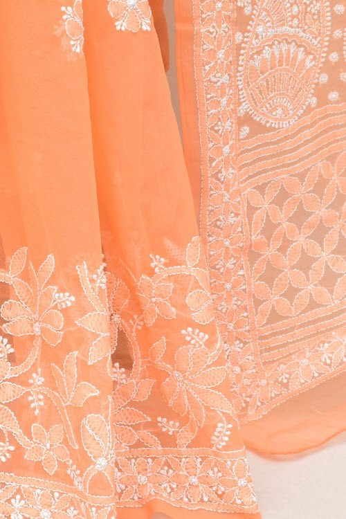 Light Orange Designer Hand Embroidered Lucknowi Chikankari Saree (With Blouse - Georgette) Half Jaal 17299