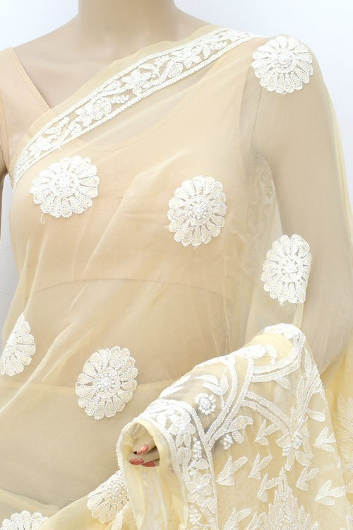 Beige Designer Hand Embroidered Lucknowi Chikankari Saree (With Blouse - Georgette) 17301