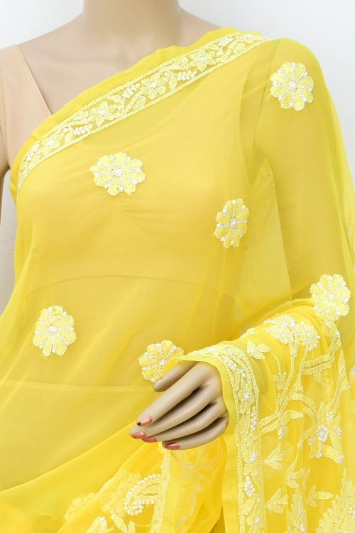 Yellow Designer Hand Embroidered Lucknowi Chikankari Saree (With Blouse - Georgette) 17302