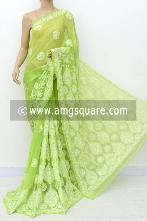 Pista Green Designer Hand Embroidered Lucknowi Chikankari Saree (With Blouse - Georgette) 17304