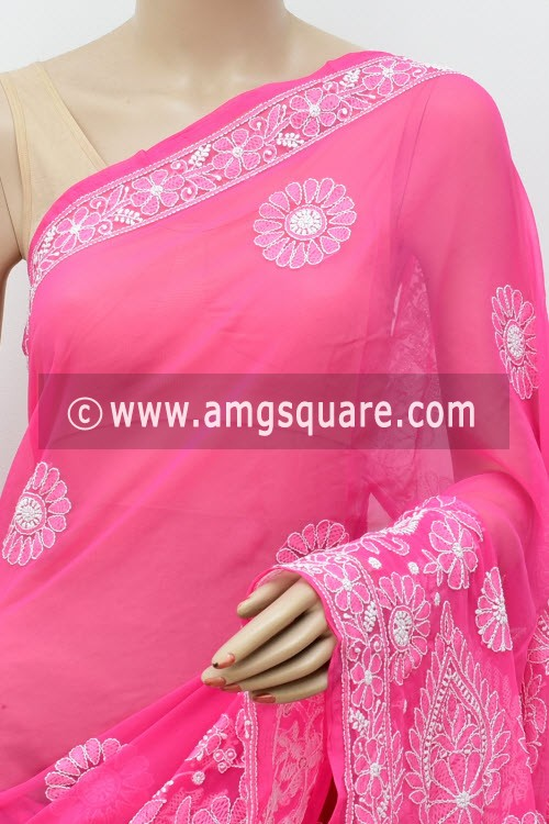 Deep Pink Designer Hand Embroidered Lucknowi Chikankari Saree (With Blouse - Georgette) 17305