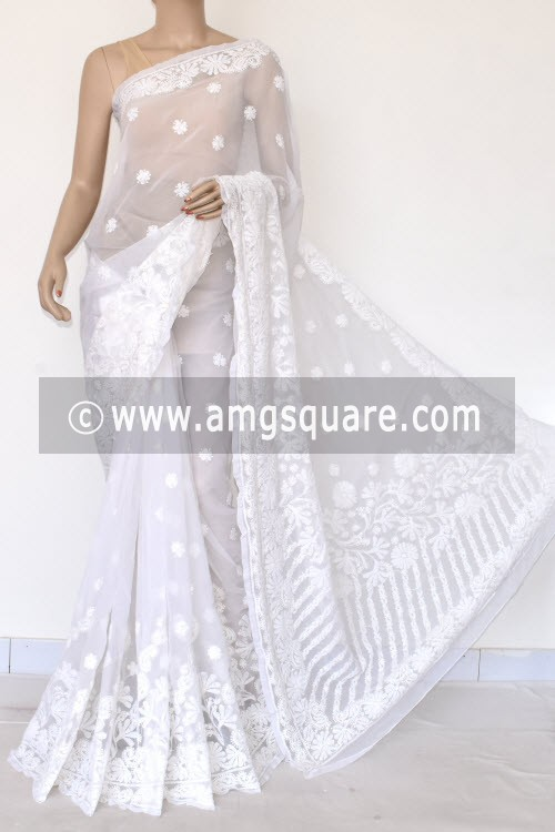White Hand Embroidered Lucknowi Chikankari Saree (With Blouse - Georgette) Rich Pallu & Border 17306
