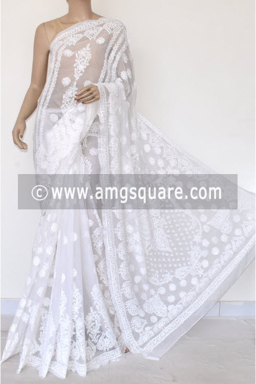 White Hand Embroidered Lucknowi Chikankari Saree (With Blouse - Georgette) Rich Pallu & Border 17307