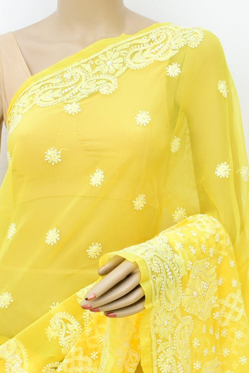 Yellow Designer Hand Embroidered Lucknowi Chikankari Saree (With Blouse - Georgette) 17308