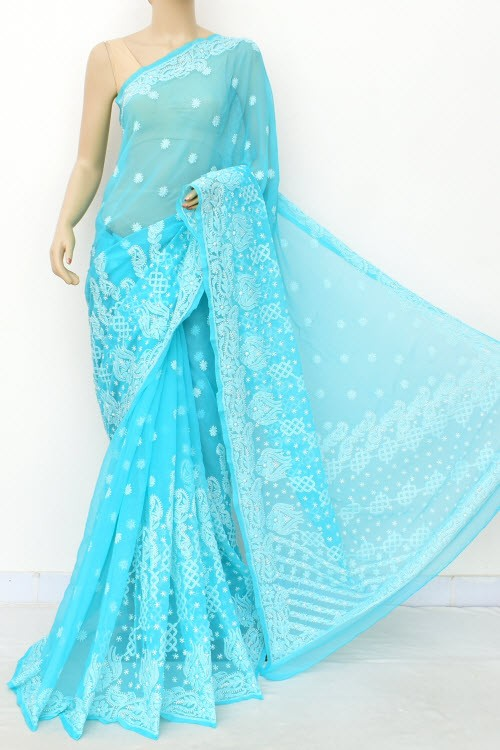 Sea Green Designer Hand Embroidered Lucknowi Chikankari Saree (With Blouse - Georgette) 17309