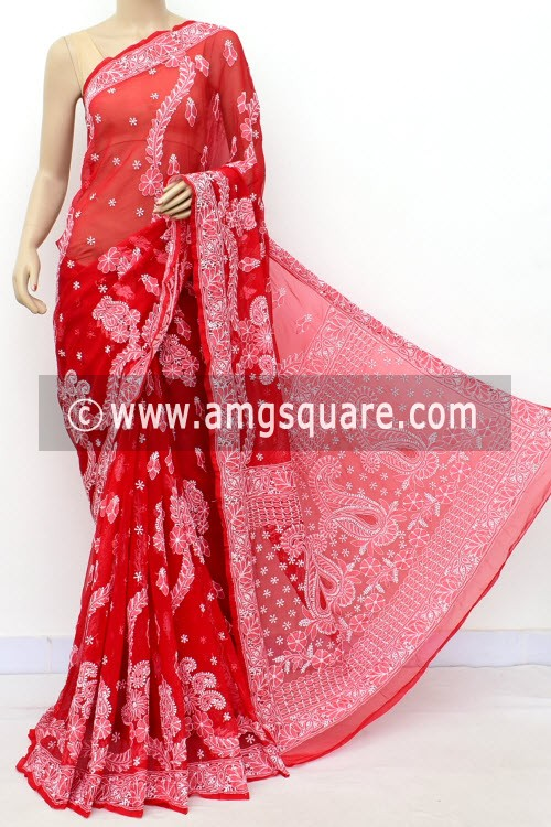 Red Designer Hand Embroidered Lucknowi Chikankari Saree (With Blouse - Georgette) 17315