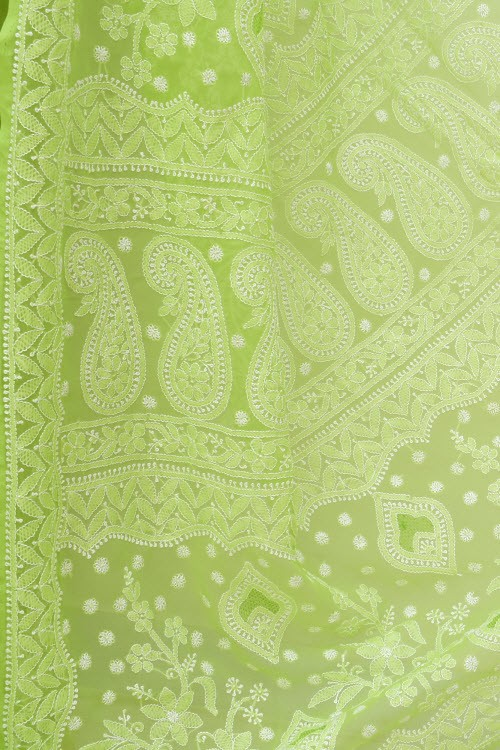 Pista Green Designer Hand Embroidered Lucknowi Chikankari Saree (With Blouse - Georgette) 17316