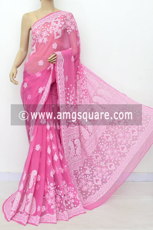 Onion Hand Embroidered Lucknowi Chikankari Saree (With Blouse - Georgette) Rich Pallu & Border 17318