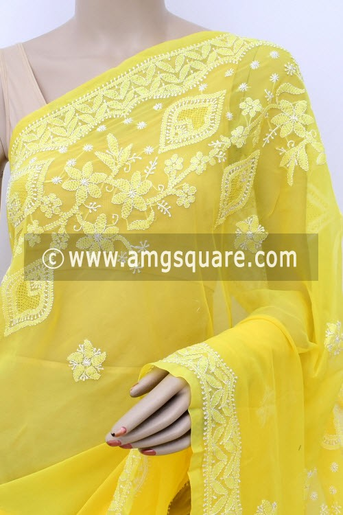 Yellow Hand Embroidered Lucknowi Chikankari Saree (With Blouse - Georgette) Rich Pallu & Border 17321