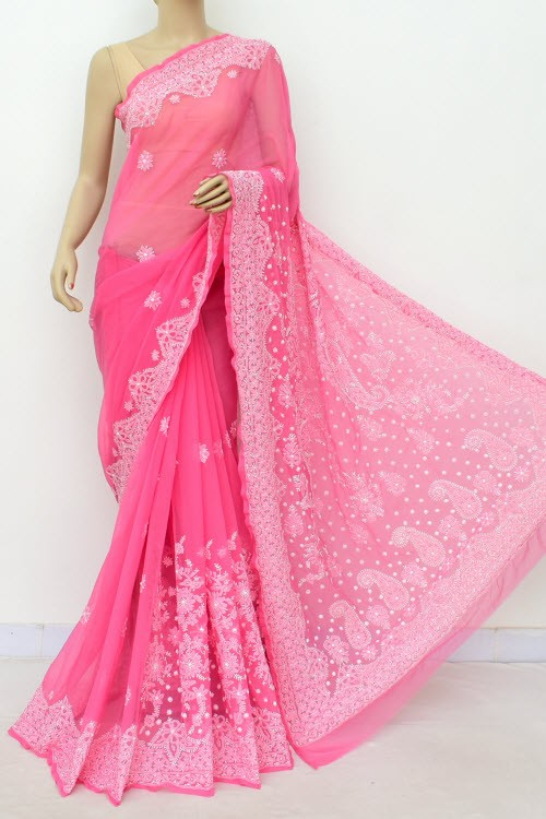 Onion Designer Hand Embroidered Lucknowi Chikankari Saree (With Blouse - Georgette) 17322