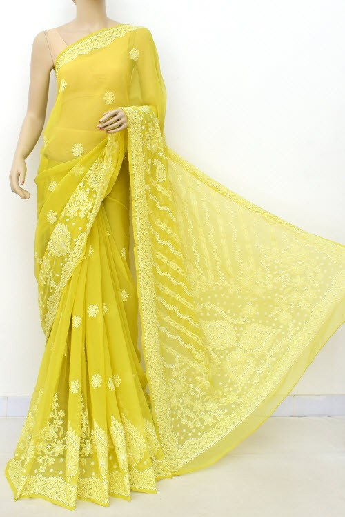 Greenish Yellow Hand Embroidered Lucknowi Chikankari Saree (With Blouse - Georgette) Rich Pallu & Border 17323