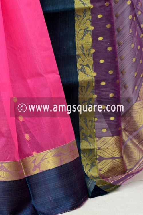 Pink Blue Handwoven Bengal Tant Kora Cotton Saree (Without Blouse) 17433