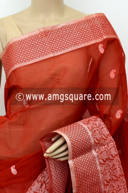 Rust Designer Handwoven Bengal Tant Cotton Saree (Without Blouse) Resham Border 17436