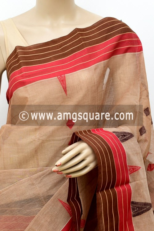 Light Chocolate Handwoven Bengal Tant Cotton Saree (Without Blouse) 17441