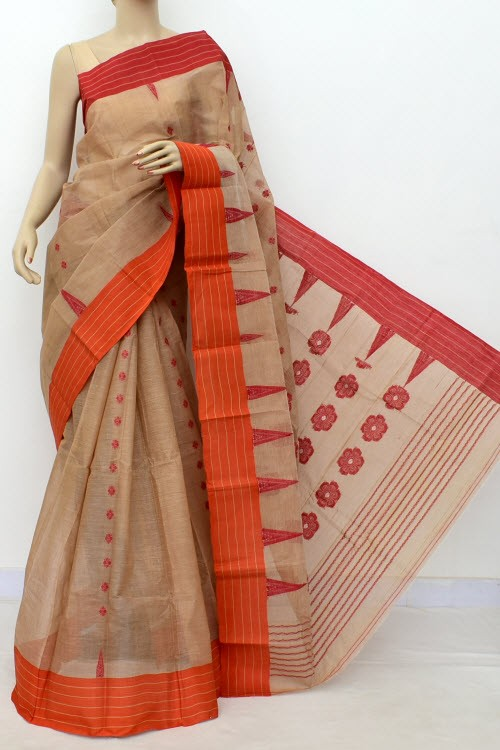 Fawn Handwoven Bengal Tant Cotton Saree (Without Blouse) Ganga Yamuna Border 17449