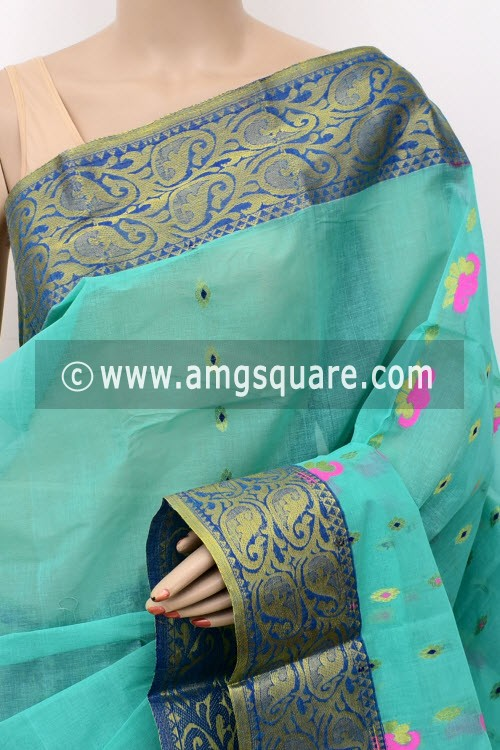 Sea Green Exclusive Handwoven Bengal Tant Cotton Saree (Without Blouse) Zari Border 17455