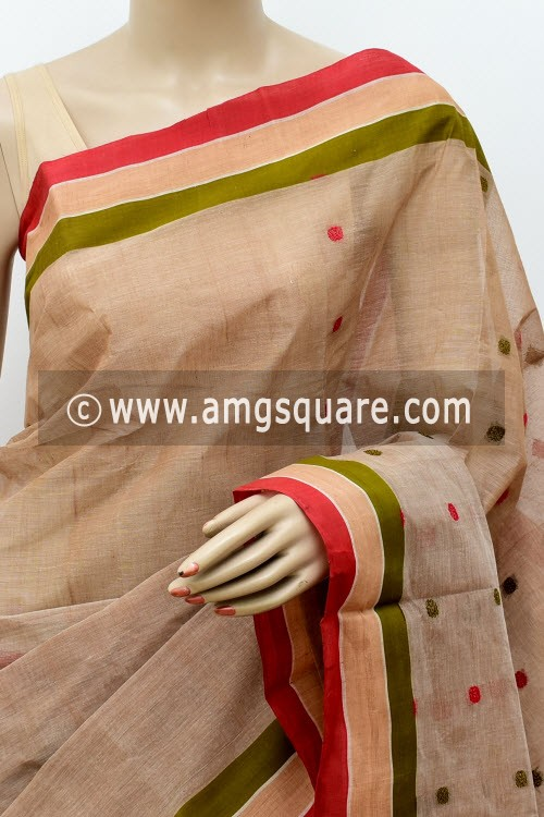 Light Chocolatee Handwoven Bengal Tant Cotton Saree (Without Blouse) 17461