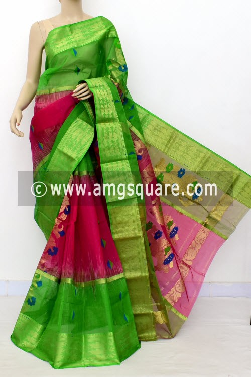 Rani Green Exclusive Handwoven Bengal Tant Cotton Saree (Without Blouse) Zari Border 17467