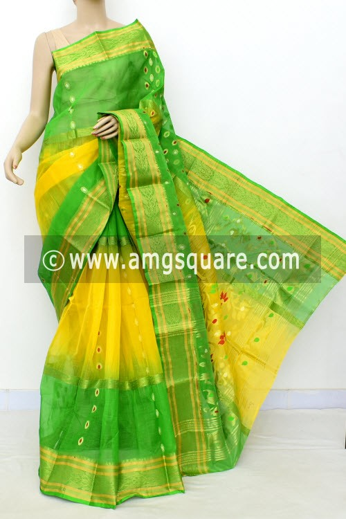 Yellow Green Exclusive Handwoven Bengal Tant Cotton Saree (Without Blouse) Zari Border 17472