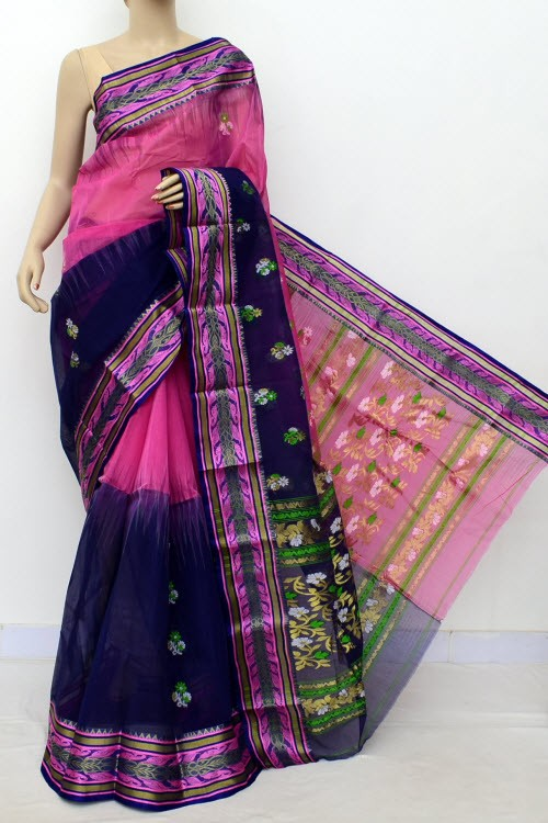 Pink Navy Blue Half-Half Handwoven Bengal Tant Cotton Saree (Without Blouse) 17489