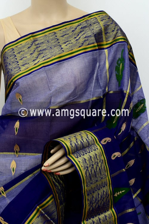 Navy Blue Exclusive Handwoven Bengal Tant Cotton Saree (Without Blouse) Zari Border 17493