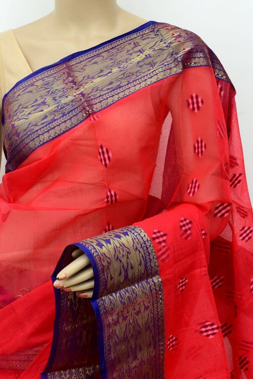 Tomato Red Exclusive Handwoven Bengal Tant Cotton Saree (Without Blouse) Zari Border 17503