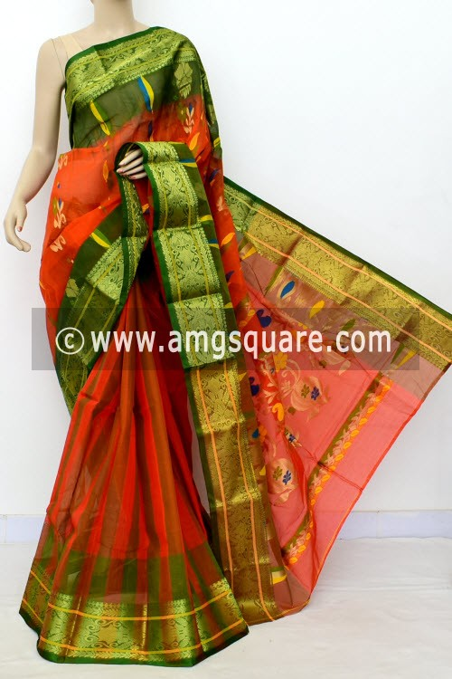 Orange Green Exclusive Handwoven Bengal Tant Cotton Saree (Without Blouse) Zari Border 17528