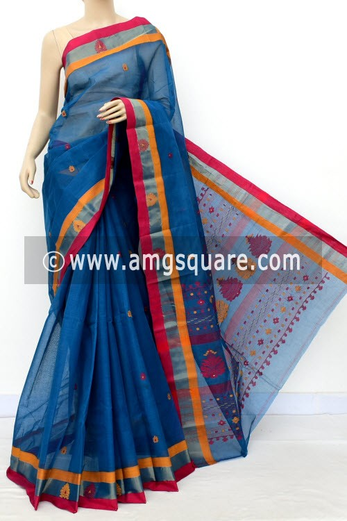 Blue Exclusive Handwoven Bengal Tant Cotton Saree (With Blouse) 17540