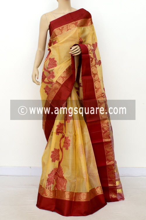 Beige Maroon Designer Tant Silk Saree (Without Blouse) 17543