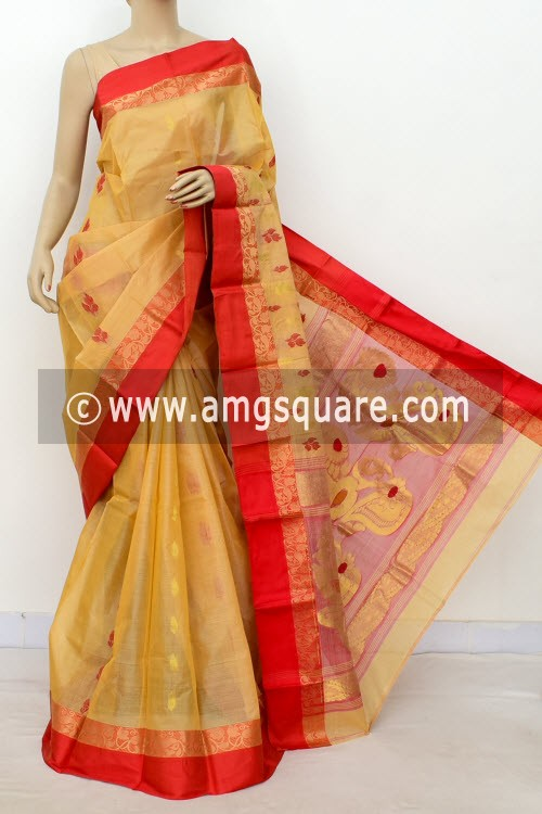 Beige Red Designer Tant Silk Saree (Without Blouse) 17544